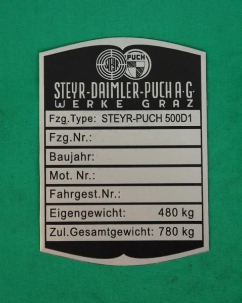 Typenschild Steyr-Puch 500D1 und DL