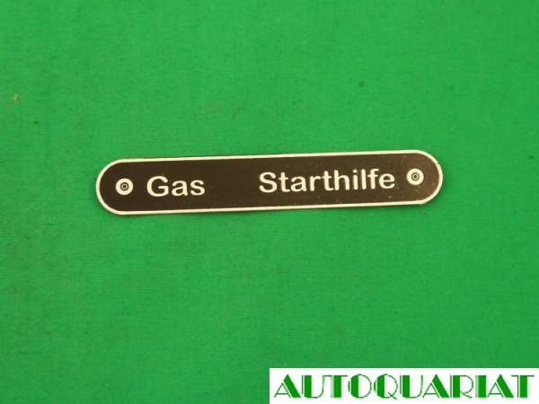 Schild Gas/Starthilfe