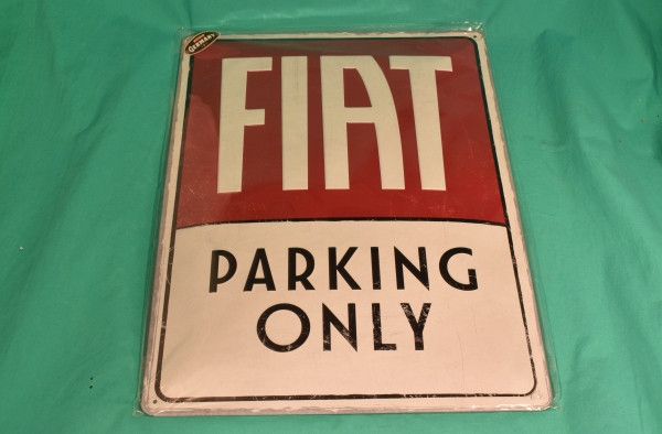 Blechschild Fiat Parking only