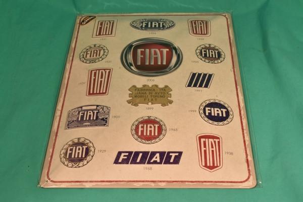 Blechschild Fiat Logos im Wandel der Zeit