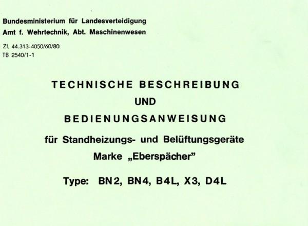 Betriebsanleitung Eberspächer Standheizung