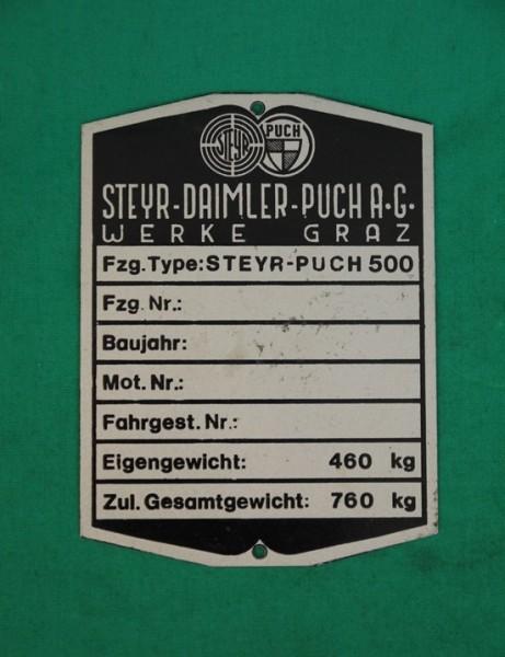 Typenschild Steyr-Puch 500 (1957-1959)