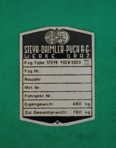 Typenschild Steyr-Puch 500D