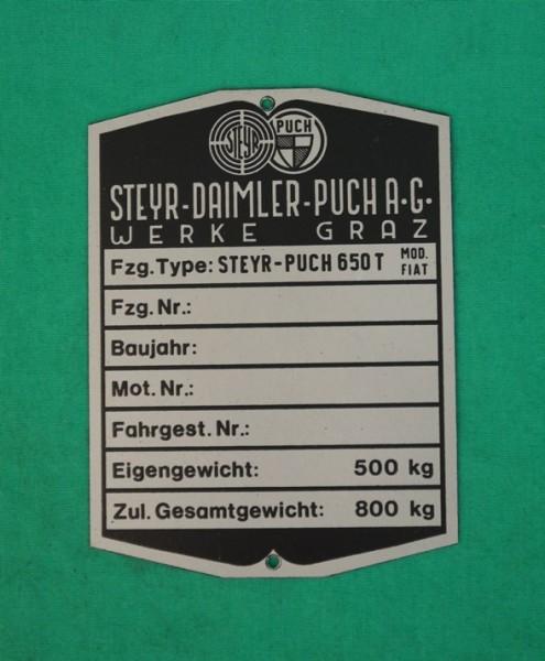 Typenschild Steyr-Puch 650T